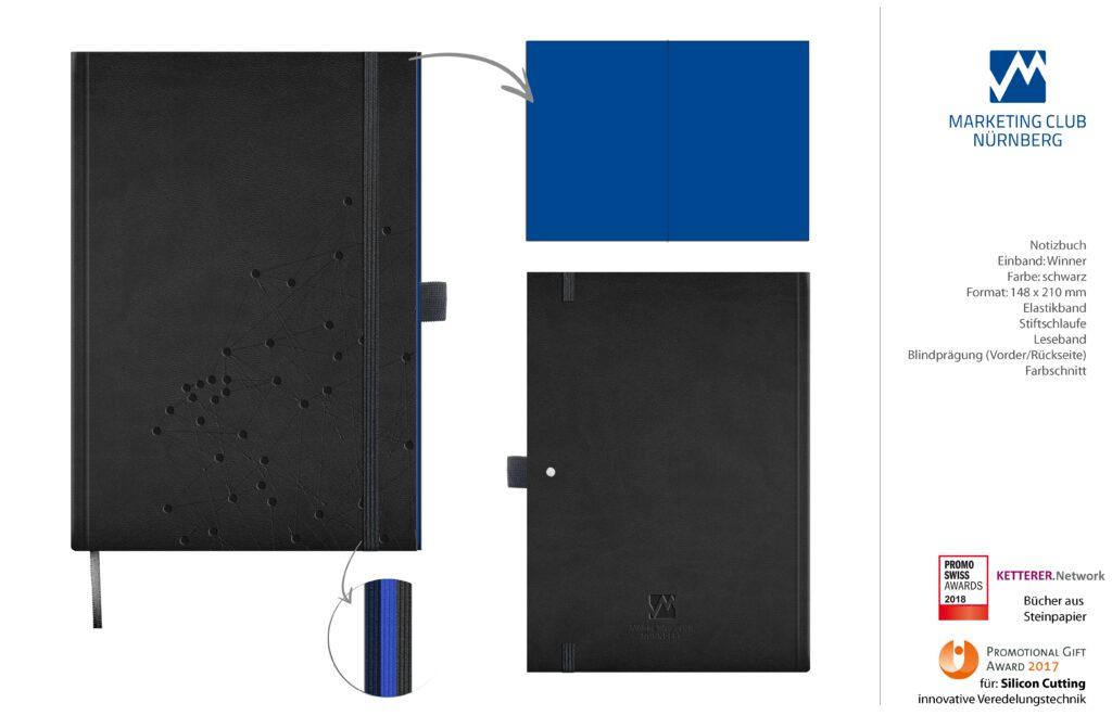 Notizbuch A5 mit 192 Seiten. Einband geprägt mit Logo und Grid, U1 bis U4 und Anschnitt in MC-Blau